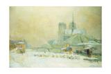View of Notre Dame  Paris  from the Quai De La Tournelle: Snow Effect