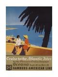 Cruise to the Atlantic Isles  Hamburg American Line Travel Poster