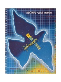 Soviet Poster with Dove and Mir Space Station