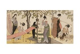 A Triptych of Girls Washing and Stretching Cloth under the Trees