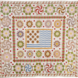 American Pieced and Appliqued Cotton Quilted Coverlet
