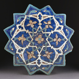 A Samarkand Cuerda Seca Stellar Tile of Twelve Pointed Form