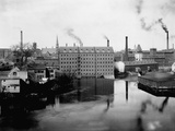 Mills and Smokestacks in Lowell  Massachusetts