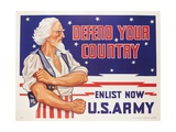 Defend Your Country  Enlist Now Us Army Wwii Poster