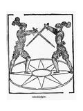 Woodcut of Sword Fighting Technique