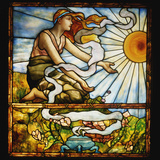 Tiffany Studios Leaded and Plate Glass Window Depicting a Young Woman