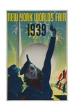 1939 New York World's Fair Poster  Woman in Blue