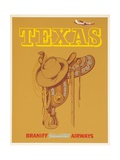 Braniff International Airways Travel Poster Texas Saddle
