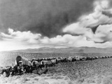 1860s-1870s Line of Covered Wagons Crossing American Plains