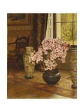 Azalea in a Japanese Bowl  with Chinese Vases on an Oriental Rug  in an Interior