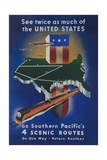 Southern Pacific's 4 Scenic Routes Travel Poster
