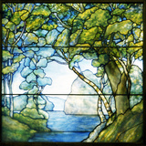 Tiffany Studios Leaded Glass Landscape Window Depicting a Passage to the Sea