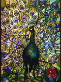 Tiffany Studios 'Peacock' Leaded Glass Domestic Window
