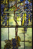 Detail of Tiffany Studios Leaded Glass Triptych Window (Wisteria)