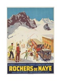 Rochers De Naye  Swiss Ski Travel Poster