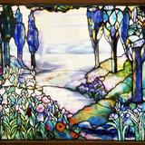 Tiffany Studios Leaded Glass Landscape Window
