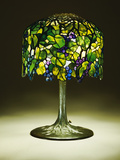 Tiffany Studios 'Grape' Leaded Glass and Bronze Table Lamp