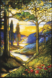 Tiffany Studios Leaded Glass Scenic Window