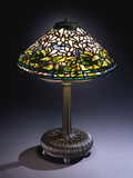 Tiffany Studios 'Cyclamen' Leaded Glass and Bronze Table Lamp