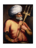 Portrait of Khair El-Din Barbarossa  Half-Length  Holding a Trident