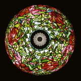Top View of Tiffany Studios 'Elaborate Peony' Leaded Glass and Bronze Table Lamp