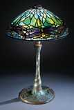 Tiffany Studios 'Jeweled Dragonfly' Leaded Glass  Bronze and Mosaic Glass Table Lamp