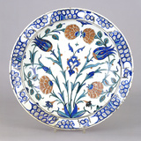 An Iznik Pottery Dish with Tulip and Peony Design  Circa 1575