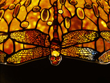 Detail of Tiffany Studios Dichroic 'Dragonfly' Leaded Glass and Bronze Floor Lamp