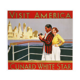 Visit America  Cunard White Star Poster