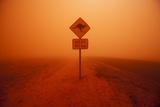 Kangaroo Crossing Sign in Dust Storm in the Australian Outback