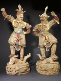 A Rare Pair of Massive Painted Pottery Lokapala Guardians Both Standing on a Recumbent Demon