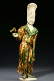 A Fine Sancai-Glazed Pottery Falconer