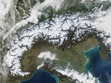 Snow Covering the Alps and Northern Italy