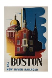 The New Haven Railroad Advertising Travel Poster  Boston