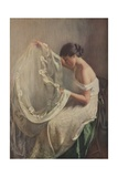 Woman Sewing Wedding Veil