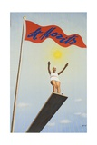 St Moritz Travel Poster  Art Deco Diving Board Woman  1930's