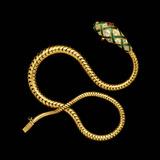A Fine Victorian Diamond  Gold and Enamel Flexible Serpent Necklace