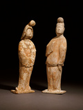 Two Tang Dynasty Painted Red Pottery Figures of Courtiers