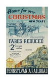 Pennsylvania Railroad Travel Poster, Home for Christmas Giclée