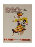 Braniff Airways Travel Poster  Rio De Janiero  Dancer