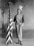 Wooden Uncle Sam and the American Flag