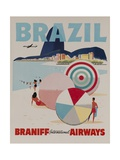 Braniff Airways Travel Poster, Brazil Giclée