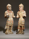 Two Very Rare Gilt and Polychrome Painted Pottery Figures of Warriors