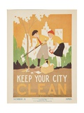 1938 Character Culture Citizenship Guide Poster  Keep Ypur City Clean