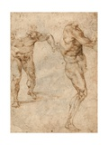 Two Nude Studies of a Man Storming Forward and Another Turning to the Right (Verso)