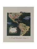Braniff Airways Travel Poster  the Americas Route Map