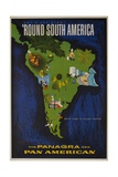 Pan Am Travel Poster  'Round South America Icon Images