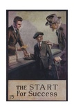 1920s American Banking Poster  the Start for Success