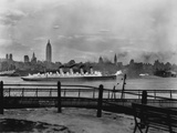 The SS Mauretania and New York City Skyline