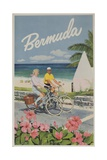 Bermuda Travel Poster  Couple on Bicycle
